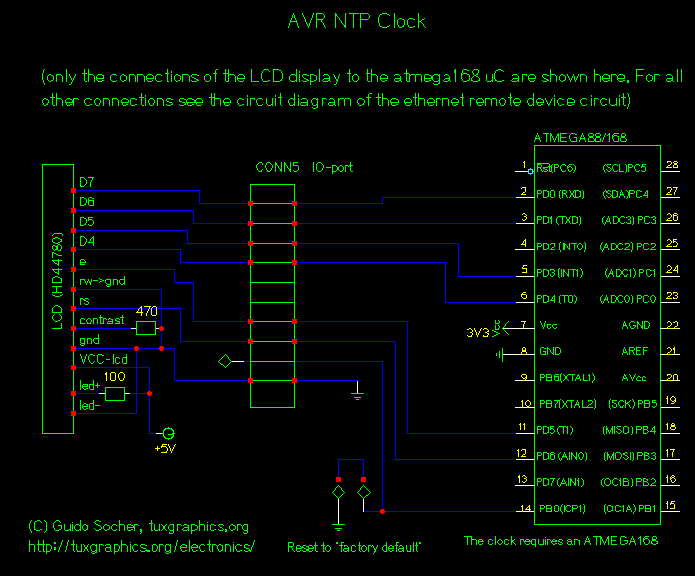 [NTP clock circuit, LCD connection]